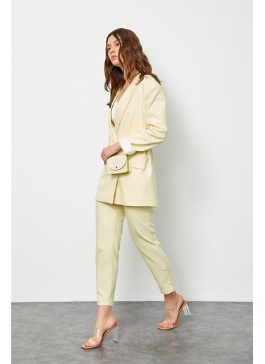 Setre Limon Kremi Çantalı Kruvaze Ceket Pantolon Takım Sarı